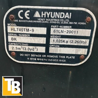 Taylor & Braithwaite - Hyundai HL730TM-9